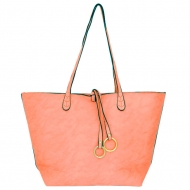 F6482 - CORAL LEATHER FASHION SHOPPING BAG