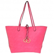 F6482 - HOT PINK LEATHER FASHION SHOPPING BAG