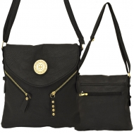 F6360 - BLACK LEATHER STUD CHAIN / SHOULDER BAG