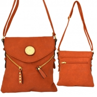 F6360 - ORANGE LEATHER STUD CHAIN / SHOULDER BAG