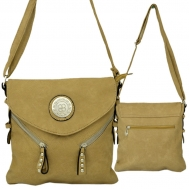 F6360 - TAN LEATHER STUD CHAIN / SHOULDER BAG