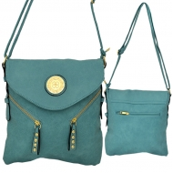 F6360 - TEAL LEATHER STUD CHAIN / SHOULDER BAG