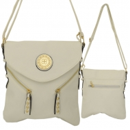 F6360 - WHITE LEATHER STUD CHAIN / SHOULDER BAG