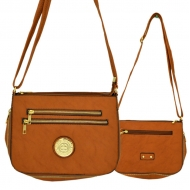 F6440 - LT. BROWN LEATHER GOLD CHAIN / SHOULDER BAG