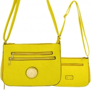 F6440 - YELLOW LEATHER GOLD CHAIN / SHOULDER BAG