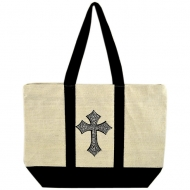 CREAM JUTE BAG W/BLACK STRIPES / W CROSS