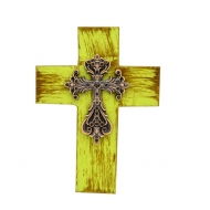 1285 - GREEN CROSS W/BLACK STONES