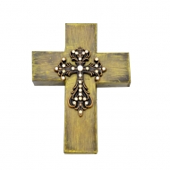 1286 - BROWN VINTAGE CROSS W/CLEAR STONES