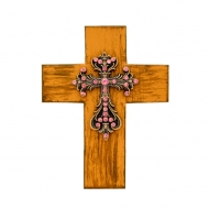 1288PK - BROWN CROSS W/PINK STONES