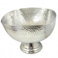 3555 - SQUARE HAMMERED BOWL W/PEDESTAL