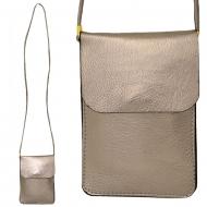 SW181241 - TAN LEATHER CROSS BODY CELLPHONE BAG
