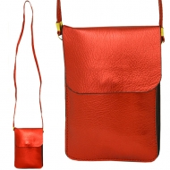 SW181243 - RED LEATHER CROSS BODY CELLPHONE BAG