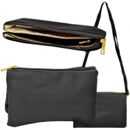 SW181269 - BLACK LEATHER TRI POCKET CROSS BODY BAG