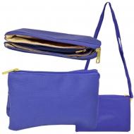 SW181270 - BLUE LEATHER TRI POCKET CROSS BODY BAG