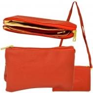 SW181272 - RED LEATHER TRI POCKET CROSS BODY BAG