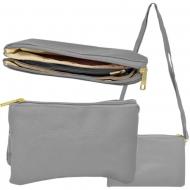 SW181274 - GREY LEATHER TRI POCKET CROSS BODY BAG