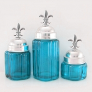 50002OCEAN-BLUE - Small Round Ocean Blue Canister Set