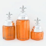 50002ORANGE - Small Round Ocean Blue Canister Set