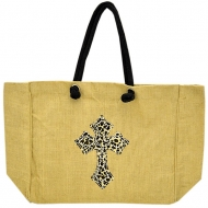 TAN COLOR JUTE SHOPPING BAG / W LEOPARD CROSS DESIGN