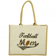 GE-02WTAN - WHITE/TAN COLOR JUTE SHOPPING OR BEACH BAG / W BASEBALL DESIGN