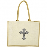 GE-02WTAN - WHITE/TAN COLOR JUTE SHOPPING OR BEACH BAG / W BLACK CROSS