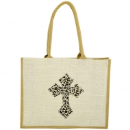 GE-02WTAN - WHITE/TAN COLOR JUTE SHOPPING OR BEACH BAG / W LEOPARD DESIGN CROSS