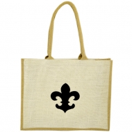 GE-02WTAN - WHITE/TAN COLOR JUTE SHOPPING OR BEACH BAG / W BLACK FDL