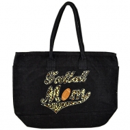 GE-08TBK-BLACK COLOR JUTE SHOPPING OR BEACH BAG / W BASEBALL MOM DESIGN