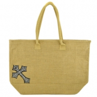 GE-14TAN-FDL-BK-TAN COLOR JUTE BAG / CROSS BLACK