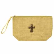 GE-9BATAN-TAN COLOR JUTE POUCH BAG W/HANDLE AND CROSS