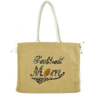 GE-J184-TAN COLOR JUTE BAG W/ROPE BASEBALL MOM DESIGN