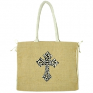 GE-J184-TAN COLOR JUTE BAG W/ROPE LEOPARD CROSS DESIGN