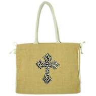 GE-J184-TAN COLOR JUTE BAG W/ROPE CROSS DESIGN