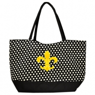 BLACK W/ WHITE POLKA DOTS SHOPPING BAG W/ YELLOW FDL