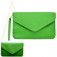 SW180830 - GREEN LEATHER CLUTCH BAG