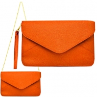 SW180830 - ORANGE LEATHER CLUTCH BAG