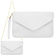 SW180830 - WHITE LEATHER CLUTCH BAG