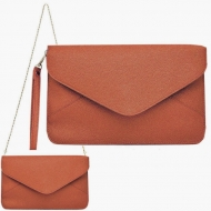 SW180834 - BROWN LEATHER CLUTCH BAG