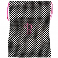 BLACK W/ WHITE POLKA DOTS / INTIALS LAUNDRY BAG