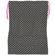 BLACK W/ WHITE POLKA DOTS LAUNDRY BAG