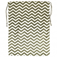 GREY/WHITE CHEVRON DESIGN LAUNDRY OR UTILITY BAG