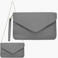 SW181264 - DARK GREY LEATHER CLUTCH BAG