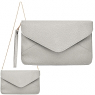 SW181266 - LIGHT GREY LEATHER CLUTCH BAG