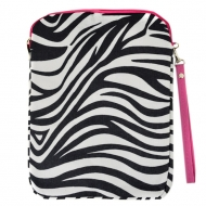 SW180623PK-BLACK/WHITE ZEBRA STRIPES W/PINK HANDLE DESIGN IPAD 2 ,3 AND NEW IPAD COVER