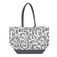 SW180596-GREY/WHITE FLOWER DESIGN INSULATED TOTE OR BEACH BAG