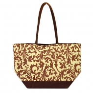 SW180601-BROWN/CREME FLOWER DESIGN INSULATED TOTE OR BEACH BAG