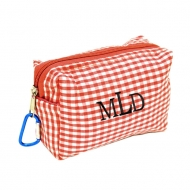 SW181023 - RED/WHITE GINGHAM COIN  POUCH OR COSMETIC/MAKEUP BAG*