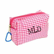 SW181024 - PINK/WHITE GINGHAM COIN  POUCH OR COSMETIC/MAKEUP BAG*
