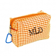 SW181025 - ORANGE/WHITE GINGHAM COIN  POUCH OR COSMETIC/MAKEUP BAG