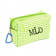 SW181026 - GREEN/WHITE GINGHAM COIN  POUCH OR COSMETIC/MAKEUP BAG